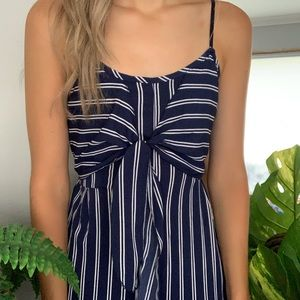 Navy Striped Jumpsuit NWOT